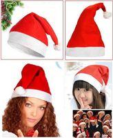 Wholesale Cheapest Church Hats - 2018 new Fashion Nonwovens Christmas Santa Claus Hats Christmas Gifts Decoration Cheapest christmas santa claus cap