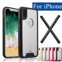 Wholesale Wholesale Iphone Goophone - Acrylic Cell Phone Case for iPhone X Shockproof Luxury Goophone TPU Transparent Frame Armor Cover For 6s 7 Samsung S8 Plus S7 edge Note 8