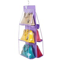 Wholesale Hanging Pocket Organiser - Wholesale- New 6 Pocket Transparent PVC Storage Bag Organizador Wardrobe Closet Pouch Hanging Purse Organiser Washable Handbag GI642098