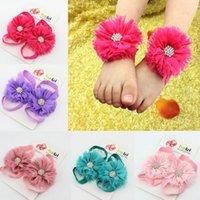 Wholesale Shabby Headband Foot Flower - Baby Headband Feet bands Accessories Photography 7 Colors Hair Accessories Shabby Chic Flowers foot