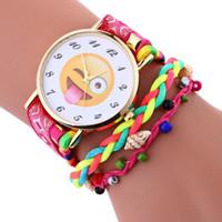 Wholesale Vogue Watch Bracelet - Multicolor Nylon Woven Rope Watches Women Vogue Emoji Dial Analog Quartz Wrist Watch Relogio Feminino Ladies Bracelet Clock