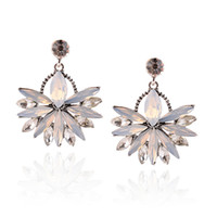 Wholesale Gem Exaggerated Earrings - Free shipping New luxury temperament big drop crystal gem earrings exaggerated earrings with jewelry for women wholesale