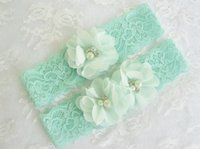 Wholesale Green Bridal Garter - 1set Mint Green Wedding Garter Set with Toss Garter in Mint Bridal Garter with Chiffon Blossoms pearls and rhinestones