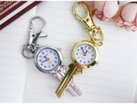 Wholesale Antique Gold Pocket Watch Chain - Vintage Antique Stainless Steel brand chaoyada Quartz Pocket Watch Key Shaped Pendant Watch Key Chain Unisex Gift