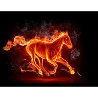 Wholesale painting black horses for sale - Group buy Fantasy Fire Horse Full Drill DIY Mosaic Needlework Diamond Painting Embroidery Cross Stitch Craft Kit Wall Home Hanging Decor