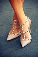 Hot Sale Women Pumps Senhoras Sexy Pointed Toe High Heels Fashion Buckle Studded Stiletto High Heel Sandals Shoes
