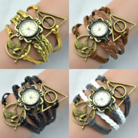Wholesale European Beads Watches - 2015 New Fashion Harry Potter Quartz Watches Dream catcher Friendship Hunger Game Arrow Women Braid Vintage Bangle Braid Watches