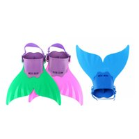 nadadeiras venda por atacado-200 PCS Ajustável Sereia Natação Mergulho Monofin Natação Pé Flipper Mono Fin Peixe Cauda de Natação Treinamento Para O Miúdo Crianças Presentes de Natal