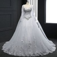 Wholesale Long Princess Sweetheart - Luxury Design Princess Long Sleeve Wedding Dress Sweetheart Crystals Beaded Sequined Lace Tulle Gorgeous Bridal Gowns Custom Made