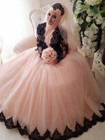 Wholesale ball images free online - Musilim Ball Gown Prom Dresses High Neck Long Sleeves Tulle Lace Applique Floor Length Evening Party Pageant Gowns With Free Hajib