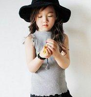 Wholesale Sleeveless Mandarin Collar Dress - Gilrs ruffle vest tops summer new children high collar vest T-shirt kids cotton tops girls best dress tops kids princess clothing A8866