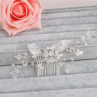 Wholesale Rhinestone Hair Pins Comb - beijia Fashion Flower Leaf Bridal Hair Comb Pin Rhinestone Crystal Wedding Hair Combs Accessories Silver Jewelry