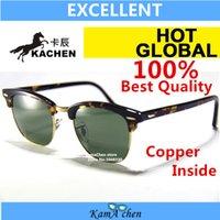 Wholesale Leopard Fashion Frames - KaChen 902 51mm Brown Blue Green Bottle black gray Lens UV400 protection amber leopard tortoiseshell frame sunglasses glasses men women