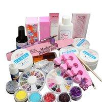Wholesale Ongles Gel - 20PCS LOT Acrylic Nail Kit Manicure Set 6 Colors Glitter powder+ 4 UV Nail GEL Kit+ Nail File Tool Ongles Gel Pro 160721#