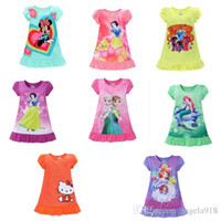 Wholesale White Short Sleeve Dresses Wholesale - 2017 summer girls dresses Elsa Anna Mermaid Snow White Minnie Cartoon kids pajamas polyester nightgowns sleepwear clothes E1189