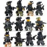 Wholesale Arms Weapons - 12PCS Military Series Swat Police Weapons Pack Army Brick Arms For City Police Best Children Gift Toys Compatible INGlys