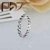 paare herzringe großhandel-Hohe Qualität 925 versilbert Ehering Frauen Pandora Style Herzen mit Herzen Ring für Lady Valentinstag Geschenke paar Ringe