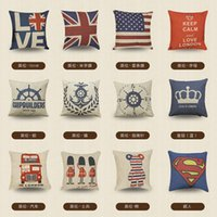 Vintage England Struck Pillowcases 11 Styles Top Quality Square Printed Cotton Blend Pillow Case Sofa Pillow Covers Car Bed Chair Pillowcase