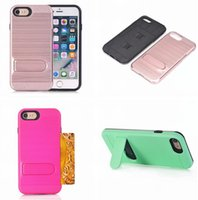 Wholesale hard plastic id case - ID Card Slot Brush Stand Hybrid Armor Case For Iphone 8 7 Plus I7 Iphone8 ZTE Z981 Z963U Z988 Soft TPU PC Hard ShockProof Phone Skin Cover