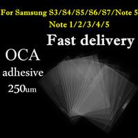 Wholesale Double Side Stickers - OCA Sticker Film for Samsung Galaxy S3 S4 S5 S6 S7 Note 2 3 4 edge 5 Mitsubishi double side sticker glass repair