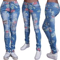Wholesale High Waist Distressed Jeans - Wholesale- Stylish Women clothes casual Plus Size High Waist Distressed Ripped Blue Skinny Denim Floral print Jeans Hole Pants one pieces