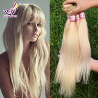 Wholesale Sewing Human Hair Extension - European blond #613 100% Unprocessed Remy Human Hair weave white Blonde Straight 4 bundles virgin Hair sew in hair Extensions Free Shipping