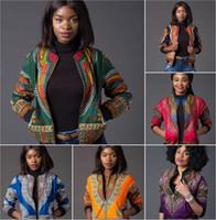 ingrosso giacche india-Giubbotto bomber con stampa africana Donna Autunno Inverno Manica lunga Zip Up Cappotto Indie Folk Donna Slim Casual Cappotti vintage Giacca da baseball Dashiki