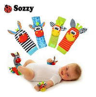 Wholesale Bright Christmas - Sozzy hot Baby toy socks Baby Toys Gift Plush Garden Bug Wrist Rattle 3 Styles Educational Toys cute bright color