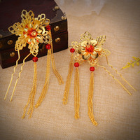 Wholesale Crystal Beads Hair Pin - Wedding Bridal Bridesmaid Handmade tassels Red beads Golden Flowers Hair band 4pc lot Wreath Headdress New Fashion Hair Jewelry Accessories