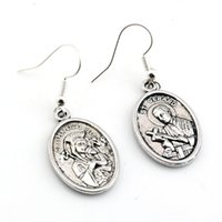 Wholesale copper earrings hooks online - Hot pair Antique silver Our Lady of Perpetual Help with Saint Gerard Medal Charms Earrings With Fish hook Ear Wire X mm