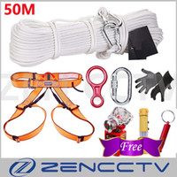 Home Escape System 50M Outdoor Climbing Rescue Rope Guanti cintura di sicurezza Blocco principale Descender Free Hammer Whistle Antigas Mask