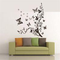 papel pintado mariposa para diseños de paredes al por mayor-IDFIAF 3 d mariposa negro tracery pegatinas de pared decoración del hogar diseño de la habitación de los niños etiqueta de papel tapiz envío gratis