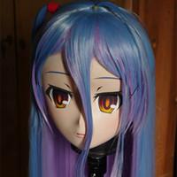 mascarilla morada al por mayor-(C2-014) Máscara de KIG con costuras hechas a mano de Letax con rostro morado / azul y pelo morado / azul Kigurumi Crossdresser Halloween Fetish Masks