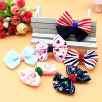 Wholesale Korean Groom - 100pcs Pet accessories handmade cloth bowknot Korean Dog accessories wholesale pet hairpin mix color pet grooming