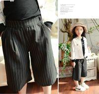 long loose summer pants 2018 - 2016 New Kids Girl Loose Pant 3 4 Long Pant Stripe Pant Summer Fashion Pant Children Girl Casual Pant 5Pcs lot K7286