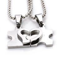 Wholesale Puzzle Steel - 2016 UNISEX New Men'S Women'S Couple Lovers Stainless Steel Love Heart Puzzle Necklaces & Pendants 12PCS LOT