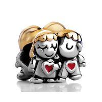 ingrosso braccialetti sposati-Gioielli da donna appena sposati cuore amore sposa sposo matrimonio europeo perlina grande buco charms bracciali collana per Pandora