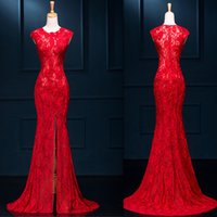 Wholesale Red Slit Cheongsam - Red Chinese Dresses 2016 Long Cheongsam Style Lace Mermaid Slit Corset Special Occasions Gowns Crew Cap Sleeves Cheap Prom Dress