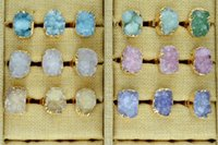 Wholesale Gem Adjustable Rings - Adjustable Druzy Drusy Ring Nature Quartz Crystal Gem Stone Finger Rings Gold Plated Edge Jewelry Rings