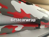 Red black white Camo VINYL Emballage complet de voiture Camouflage Foil Stickers avec Camo camion couvrant film brillant / fini mat 1.52 x 30m / 5x98ft