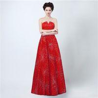 Wholesale Short Evening Wedding Dresses - Free Shipping Long Evening Dress Vestidos De Noche Largos Elegantes 2017 V Neck Red Tulle Cheap Floor Length Prom Dresses