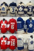 Wholesale Hot Kids Hoodie - Hot Sale Mens Womens Kids Toronto Maple Leafs 3 Dion Phaneuf 6 Weber 16 Toews 16 Mitchell Marner Cheap Embroidery Logos Ice Hockey Hoodies