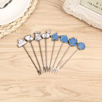 Wholesale Wedding Gift Cutlery - Fruit Forks Sets Stainless Steel Ocean Style Creative Cartoon Cake Cutlery Wedding Favors And Gifts For Guests 3 5wl F R