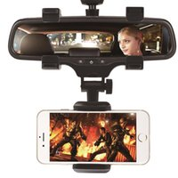 Wholesale mirror stands resale online - Adjustable Car GPS Rearview Mirror Auto Mount Holder Cell Phone Bracket Stands for iPhone X Plus Samsung Huawei Universal Phone