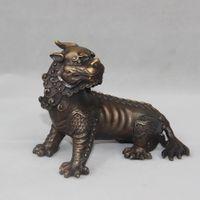 Wholesale Chinese Lion Art - Chinese Bronze Evil Spirit Foo Dog Lion Unicorn Beast PiXiu Statue Pair home decoration