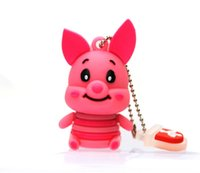 Bulk Cartoon Pink Pig Silicone Pendrive USB Memory Stick Animal Pig USB Flash Drive