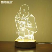 Wholesale 3d Hot Painting - Hot selling LED Kobe Table night light 3 color shifty LED 3D Desk lamp lustre Bedroom reading room Kobe Bryant Acrylic LED lamp