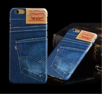 Wholesale Denim Phone Cases - Men Women Jean Style Phone Blue Case Denim Pattern Back Cover Hard PC for Iphone 5 6s 6s plus