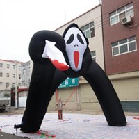 Wholesale air products resale online - hottest oxford cloth horror air cartoon product giant inflatable ghost door arch for decoration with bloody knife