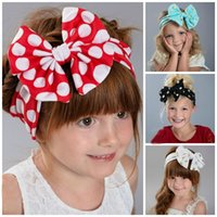 Wholesale New Fashion Colors Girls Bowknot Hair Band Baby Wave point Childrens Hair Accessories Cute Bow Hair Band